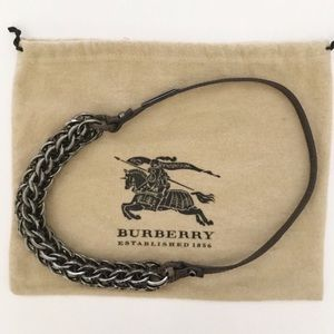 Authentic Burberry chain and leather necklace